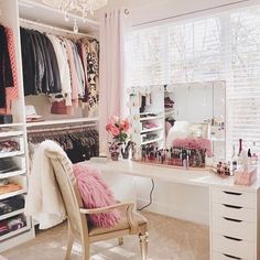 37 + Unanswered Concerns About Glam Room Closet Vanity Ideas 14 Spare Room Closet, Spare Bedroom Closets, Dressing Room Closet, Dressing Room Design, Closet Rooms, Dressing Rooms, Bedrooms, Dressing Mirror, Bedroom Wardrobe