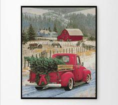 Christmas tree cross stitch pattern Winter cross stitch Car