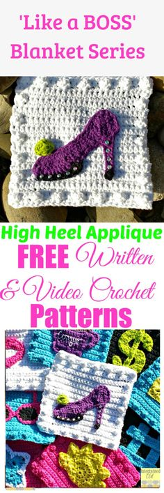 """Free written pattern and video tutorial for a High Heel Applique. """"Like a Boss"""" Blanket Series Crochet High Heel Square Pattern."""