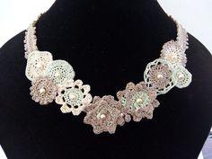 Floral Crochet Necklace Boho Crochet Choker by DesignByIrenne