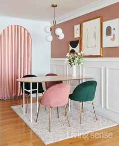 Pink Dining Rooms, Dining Room Colors, Art Deco Living Room, Dining Table Design, Diy Décoration, Apartment Interior Design, Design Your Home, Art Nouveau, Home Decor Styles