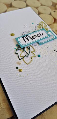 Carte scrapbooking colorée, dies feuilles Simply Graphic, étiquette éphéméria, dots Nuvo, Distress Oxide