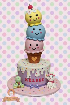 Ice cream themed cake for Kelsey's birthday! Aside from ice cream, she also loves cats and dinos. Ice Cream Cone Cake, Ice Cream Theme, Ice Cream Party, Cream Cake, Torta Candy, Candy Cakes, Gravity Defying Cake, Gravity Cake, Girly Cakes