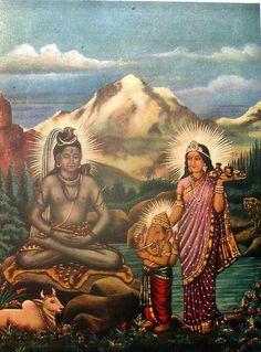 Shiva, Ganasha and Parvati.