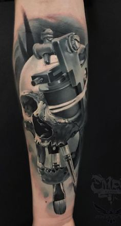 Skull & Ink Machine Tattoo