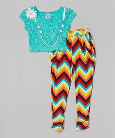This Maya Fashion Mint & Rainbow Chevron Pants Set - Girls by Maya Fashion is perfect! #zulilyfinds