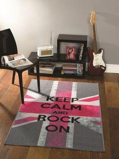 """recomendable Alfombra retro para dormitorio Rosa y Gris """"Rock On"""" bandera británica 100x160cm Encuentra más en http://www.cunas-para-bebes.net/tienda/producto/alfombra-retro-para-dormitorio-rosa-y-gris-rock-on-bandera-britanica-100x160cm/"""