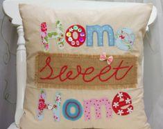 Home Sweet Home travesseiro capa de almofada de tecido Handmade Applique Linen Cath Kidston e Outros