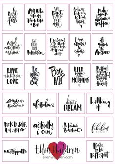 Inspirational quotes planner stickers hand lettered inspiring journal stickers calligraphy planner stickers chic and monochrome from ellenwaldren on etsy studio Goals Planner, Monthly Planner, Printable Planner, Happy Planner, Printable Wall Art, Free Printable Quotes, Planner Dividers, Printable Stickers, Free Printables