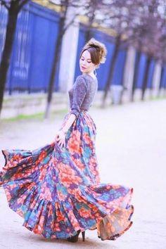 c66d00b5833  Beautiful  Floral  Maxi  Skirt  Style  Women  Fashion Fashion Models