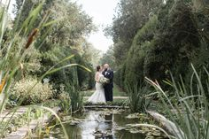 Oatlands Historic House & Gardens- September 2015 outdoor garden ceremony; reflecting pool; bride and groom portrait; Jennifer Gulley Photography.