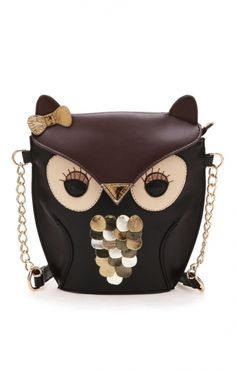 He's a little grouchy-owl, but what an adorable, fun purse for the owl lover or just quirky girl, maybe a little 'back to school' surprise? Too cute!
