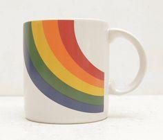 Arc en ciel Vintage 1984 une tasse de café Corée FTDA ; Buveur de thé chaud ; LIVRAISON GRATUITE ÉTATS-UNIS D'AMÉRIQUE.
