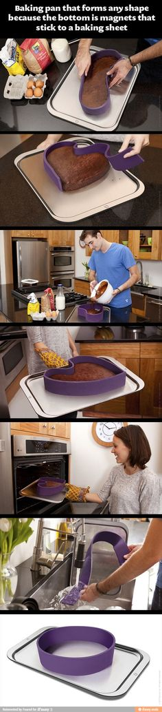A pan that bends to any shape you make it! The filling won't spill out because of the magnetic bottom edge...? This also solves the problem of breaking your cake when trying to get it out of the pan!