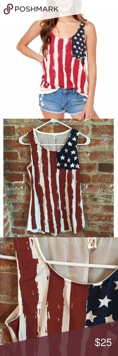 American flag tank top NWOT American flag tank top. Very Good quality. Back is sheer and is tied up Tops Tank Tops