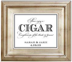 8x10 Cigar Bar Wedding Sign Customized Personalized Typography Art Print