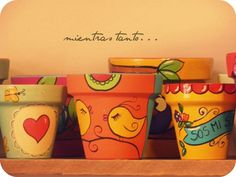 Painted Clay Pots, Clay Paint, Painted Flower Pots, Pottery Painting, Diy Painting, Flower Garden Design, Clay Pot Crafts, Terracotta Pots, Garden Crafts