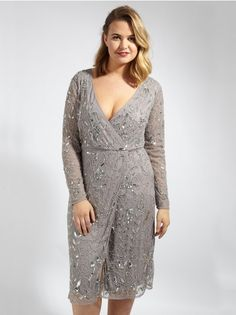 9c638a2961eaea Lovedrobe Luxe Grey Wrap Over Embellished Dress - Plus Size Plus Size  Womens Clothing