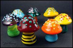Glass Lampwork Dreadlock Beads - Mushrooms by ~andromeda on deviantART