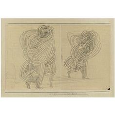 Paul Klee -  IM WIND SCHREITENDE (WOMAN WALKING IN THE WIND), 1926