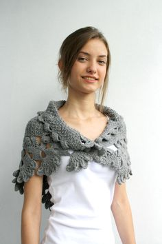 Free SHIPPING Grey Capelet Shawl Mothers Day Gift Under 75 For Her FOR Women For Mom