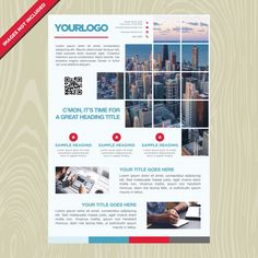 Business brochure with mosaic picture Free Vector