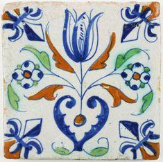 Antique Dutch Delft tile with a Tulip Heart, 17th century