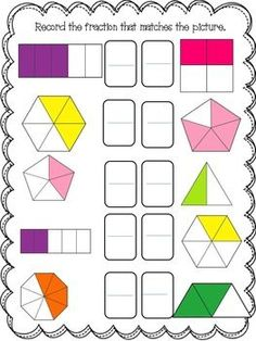 Fractions by Ashley Benoit Math Fractions Worksheets, 3rd Grade Fractions, Mental Maths Worksheets, Homeschool Worksheets, Math Manipulatives, Kindergarten Math Worksheets, Teaching Math, Maths Puzzles, Dividing Fractions