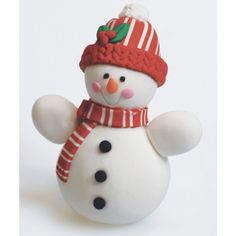 christmas cake decorations with candy | Claydough Snowman with Hat Christmas Cake Topper Decoration