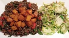 Warm Lentil Salad with Roasted Squash  & Shaved Brussels Sprouts