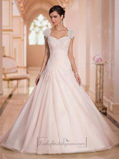 Cap Sleeves Sweetheart A-line Lace Appliques Keyhole Back Wedding Dresses