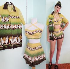 40s Catalina Playsuit 3pc Set - Chartreuse Romper - Criss Cross halter -. $385.00, via Etsy.