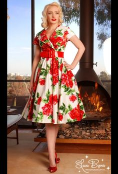 "$118 ""Birdie Party Dress in Red Vintage Floral by Pinup Couture"""