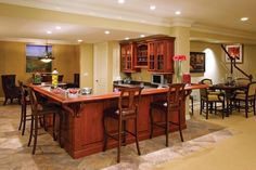 Nice bar area in basement Basement Bar Plans, Basement Bar Designs, Basement House, Basement Ideas, Home Bar Setup, Home Channel, Man Cave Furniture, Rustic Room, Bars For Home