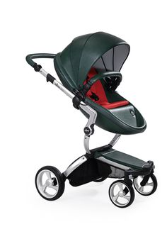 Mima Xari - British Green Seat, Ruby Red Starter Pack | The only stroller made with leatherette fabric, the Mima Xari is more than a pretty face. With a chic design and advanced features, this highly-customizable stroller strikes the perfect balance of fashion and functionality.