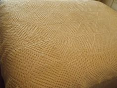 Vtg Crocheted Afghan Bedspread Granny Squares Chic Vanilla Cream Handmade 72x84  #Handmade #AfghanThrowBedspread
