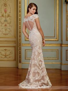 David Tutera for Mon Cheri - 117291 Zerrin - Embroidered Schiffli lace appliqué on tulle over organza fit and flare gown with illusion scalloped lace cap sleeves, illusion scalloped lace bateau neckline, sweetheart bodice, illusion back with crystal buttons, scalloped hemline and sweep train, dramatic detachable chapel length tulle train with scalloped lace trim.Sizes: 0 – 20, 18W – 26WColors: Ivory/Dark Champagne, Ivory, White