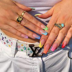 French Tip Acrylic Nails, Acrylic Nails Coffin Short, Simple Acrylic Nails, Summer Acrylic Nails, Best Acrylic Nails, Acrylic Nail Designs, Coffin Nails, Summer Nails, Pastel Nails