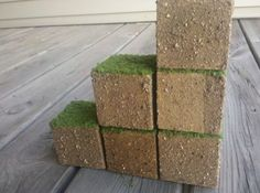 For his minecraft room - maybe I can make these with textured paint and artificial grass
