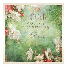 100th Birthday Party Shabby Chic Hibiscus Flowers 5.25x5.25 Square Paper Invitation Card Women's 100th birthday party invitations. Affordable square personalized custom one hundred years old / 100 years old birthday party celebration invitations for grandmother / great grandmother with a beautiful, elegant, white and red tropical hi...read more