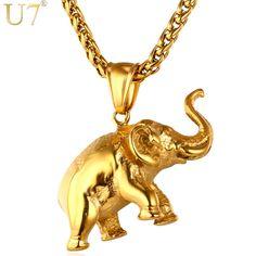 U7 chapado en oro elefante collar de 2016 hombres de moda del encanto de la joyería colgante de acero inoxidable animal regalo de la joyería afortunada p755