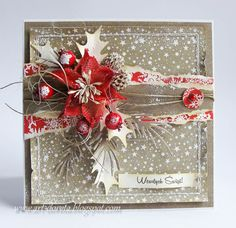 Card Christmas poinsettia befries holly leaves snowfall stencil vintage shabby shic Dorota_mk