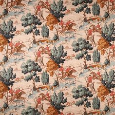 Tally Ho! | LF1704C/1 | Thoroughbred - A unique linen fabric with a classic English hunting scene, the detailing on this fabric is beautiful.