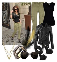A fashion look from June 2017 featuring velvet top, faux leather jacket and zipper pants. Luv Aj, Cheryl Cole, Graham Spencer, Butches, Military Jacket, Harem Pants, Leather Pants, Famous People, Polyvore