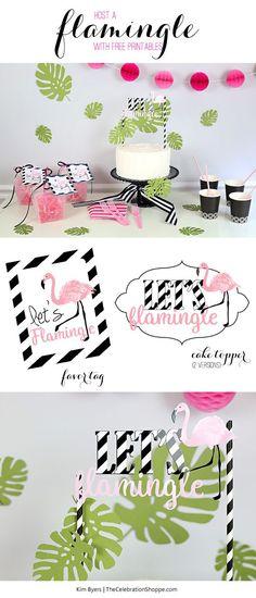 Host A Flamingo Party With Free Printables | @kimbyers TheCelebrationShoppe.com
