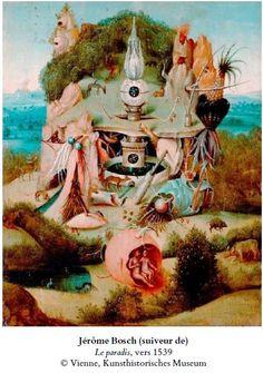 Dreamy Surreal Painting by Bosch, fantasy, fantastic flowers, secret garden