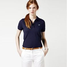 Just ordered this Lacoste polo! Polo Shirt Outfit Women's, Polo Shirt Girl, Navy Polo Shirt, Polo Shirt Women, Camisa Polo, Casual Chic Style, Preppy Style, Best Polo Shirts, Outfits Mujer