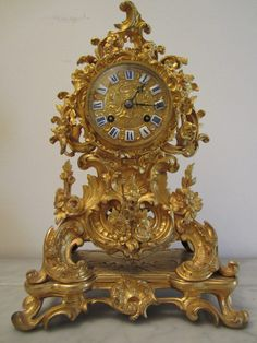 Antique Victorian Ormalu and Gilt Riccoco Mantel Clock, by Japy Freres,  French.
