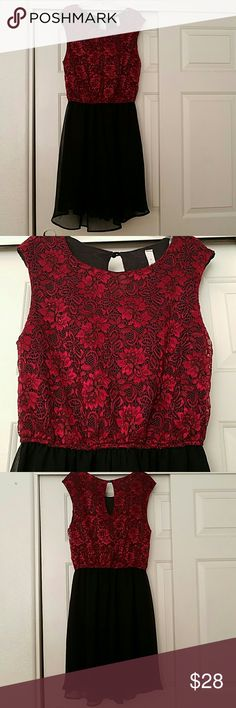 Stunning Red/Black Lacey Dress Lovely red and black dress with lace top. Never worn! Dresses