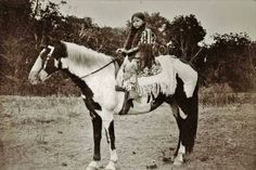 Kiowa girl on a horse at Fort Sill, ca. 1890s.